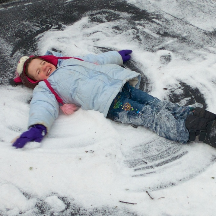 The required trampoline snow angel