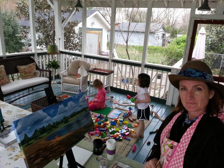 the Block Mom painting while entertaining all the kids.