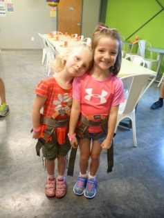 Carissa & Evie all harnessed up - Climb Nashville - 10 Oct 2014