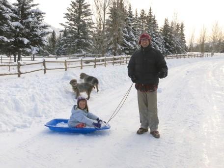 Flatland sledding. Faster, daddy!